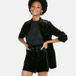 Express Super High Waisted Velvet Sash Tie Shorts